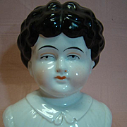 """Huge 12"""" h.c. Antique Pet Name """"Bertha"""" China Doll Head (Only) to Make 24-26 In. Doll - Molded Blouse"""