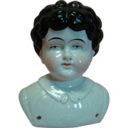 "Huge 12"" h.c. Antique Pet Name ""Bertha"" China Doll Head (Only) to Make 24-26 In. Doll - Molded Blouse"