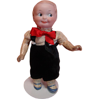 Precious 6-1/2 Inch German A. Marseilles Googly Mold #254, Original 5-Pc. Toddler Body with Molded Shoes and Socks, Painted Intaglio Eyes