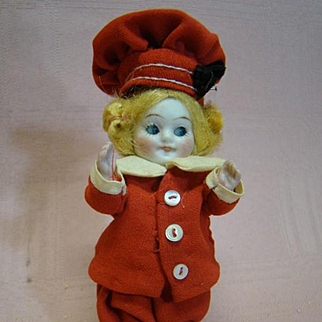 3-1/2 In. German All Bisque Glass Eye Googly Mold #330, Adorable Red and White Sailor Suit, Painted Shoes and Socks