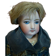 16 In. Lovely Antique Painted Eye French Fashion, So Dramatic and Expressive, Original Kid Body, Mohair Wig, Cork Pate, Gorgeous Clothing and Hoop