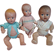 Three (3) Adorable Composition, Painted Eye Baby Dolls Cir: 1930-1940, Excellent Condition