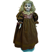 21 In. Antique Simon Halbig Bisque Shoulder Head Child Doll Cir: 1889-95;  Pierced Ears, Original Mohair Wig, Excellent Rivet Jointed Kid Body Bisque Lower Arms