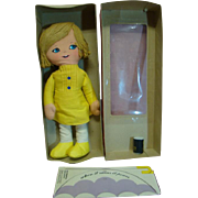 "14 In. Mattel ""Morton Salt Girl"" Advertising Doll for Morton Salt Company, 1974, Cloth Doll, Painted Features, Original Box, Clean"