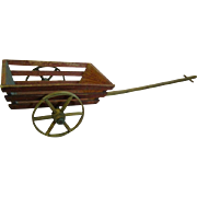 Original Authentic Antique Wooden Doll Size Two-Wheel Cart with Pull Handle, Wooden Spokes and Wheels, Great Display, Cir:  Late 1800's-1900