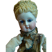 """Antique Automaton Needing Restoration, Beautiful Doll Head with no Damage, Key Wind Movements and Music Work, Sold """"As Is"""""""