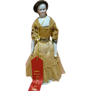 11 In. Original 1850's Bald Head China Shoulder Head Doll, Cloth Body and China Arms and Legs, Human Hair Wig, 2nd Place Ribbon Winner