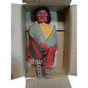 6.5 Inch Young Girl Skookum Doll, in Original Mailer Box, Mind Condition, Colorful Clothing, Sticker on Foot