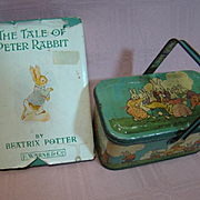 Vintage Peter Rabbit Easter Candy Tin (Great Lithography) with Handle, Plus The Tale of Peter Rabbit Book by Beatrix Potter