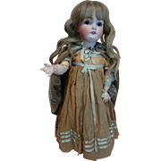 17 In. Antique German Doll with Bisque Head Made by Simon Halbig for C. M. Bergmann Doll Factory, Composition Body, Sleep Eyes, Orig. Wig