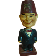 "Vintage Composition Full Figure Character Shriner with Bobble Head, Bobbing Head, and a Goofy Big Smile, Stamped ""Japan"""