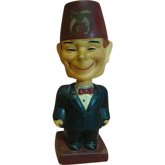 """Vintage Composition Full Figure Character Shriner with Bobble Head, Bobbing Head, and a Goofy Big Smile, Stamped """"Japan"""""""