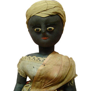 Magnificent Museum Quality 19th Century Hand Made Black French Creole Cloth Doll, Original Clothing, Leather Stitched-On Shoes, Elongated Separate Fingers