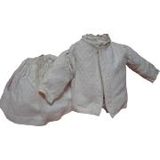 2-Pc. Antique Matching Lined Jacket and Gathered Skirt in a Heavy Waffled Texture Cotton, Cir:  1890-1910 for an Antique Doll Approximately 21-22 In. Tall