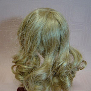 Vintage Blonde Human Hair Long Curls Wig for a Doll with a 7-1/2 to 8 inch head circumference; Clean and with Good Set, Bangs
