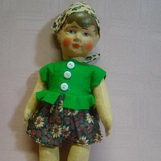 9-1/2 In. Original early 1900 German Kruse-Type Doll, Painted Hair, Molded, Handpainted Muslin Head, Muslin Body Jointed at Neck, Shoulders and Hips