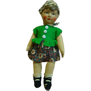 9-1/2 In. Original early 1900 German Kruse-Type Doll, Painted Hair, Molded, Handpainted Muslin Head, Muslin Body Jointed at Neck, Shoulders and Hips