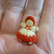 Possibly the Tiniest Doll Ever Made--7/8 Inch Crochet Doll in Crochet Clothing, Hat, Wig
