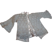 Beautifull Antique Ecru Crochet Sweater / Jacket for a French or German Doll, Excellent Condition