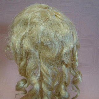Beautiful Original Antique Mohair Doll Wig with Curls, Clean with Cotton Non-Stretch Muslin Cap, Approximate 11-1/2 Inch Circumference