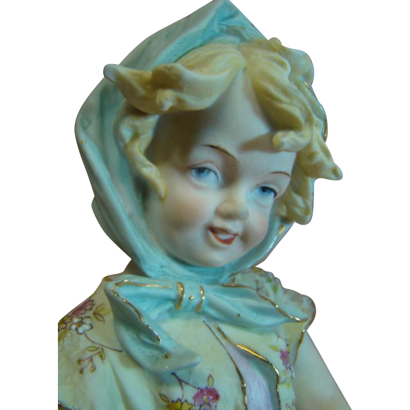 12-1/2 Inch Beautiful Child All Bisque Figurine Gathering Harvest in her Hand-Painted  Apron with Flowers, Beading and Gold Luster