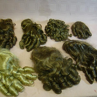 Lot of 7 Vintage Replacement Wigs for Dolls, Gently Worn but Clean, Mostly for 14-15 in. Cir.