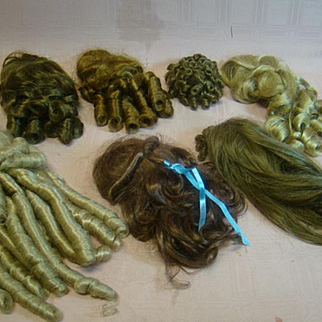 Lot of 7 Vintage Replacement Wigs for Dolls, Gently Worn but Clean, Varied Sizes