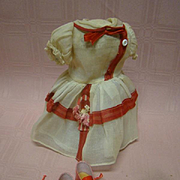 Cute Organdy Dress for a Hard Plastic or Composition Doll with Added Red Lace Up Shoes