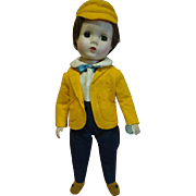 """14 In. 1952 Madame Alexander Hard Plastic """"Nat,"""" One of 3 Little Men, Rare, Completely Original Tagged Outfit, Wrist Tag - Rare!"""