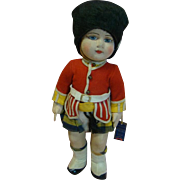 14 In. Early Chad Valley Cloth Doll Dressed as a Scottish Bagpipe Player in Kilt, Etc., Jointed Neck, Shoulders, Hips; Cloth Body with Felt Face; with Provenance