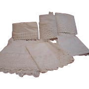 Lots of Yardage of White Antique Cotton Trims for Dressing Antique Dolls, Lawn Dresses, Pantaloons, Slips, Etc.