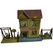 "Small size Marked "" R Bliss "" Dollhouse with Extras"