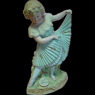 11-1/2 In. Antique German Porcelain Figurine Dancing Girl by Gebruder Heubach