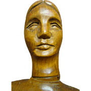 32 In. Articulated and Fully Jointed Antique Wood Artist Lady Model with Carved Bun, Late 1800's or Early 1900's.