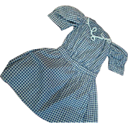 Vintage Cotton Navy Blue Checked Dress for an Antique Doll Approximately 19-20 Inches