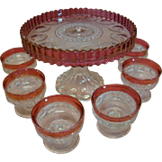 Kings Crown Ruby Thumb Print Spiked Edge Pedestal Cake Plate and Six Matching Sherbet Glasses 1950's