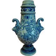 Large 15 In. Vintage European Ceramic Pottery Vase with Cobalt Blue Relief Decor, Ram's Head Handles, Salt Glaze