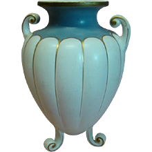 Beautiful Large Vintage Off White and Blue Signed Vase by Paul's Italy, 3-Footed with Gold Highlighting