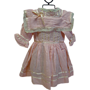 Cotton Candy Pink Vintage Cotton Dress for a 20-22 In. German Character or Other German Doll, Bertha Collar