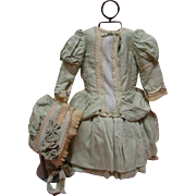 Outstanding Lavishly Detailed Dress and Bonnet for a 23-24 In. French Bebe or German Child Doll