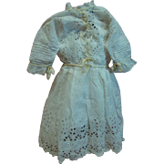 Beautiful Antique Cotton Eyelet Doll Dress with Cream Silk Ribbon Trim, Full Slip with Eyelet Trim, for 25-26 In. German Doll