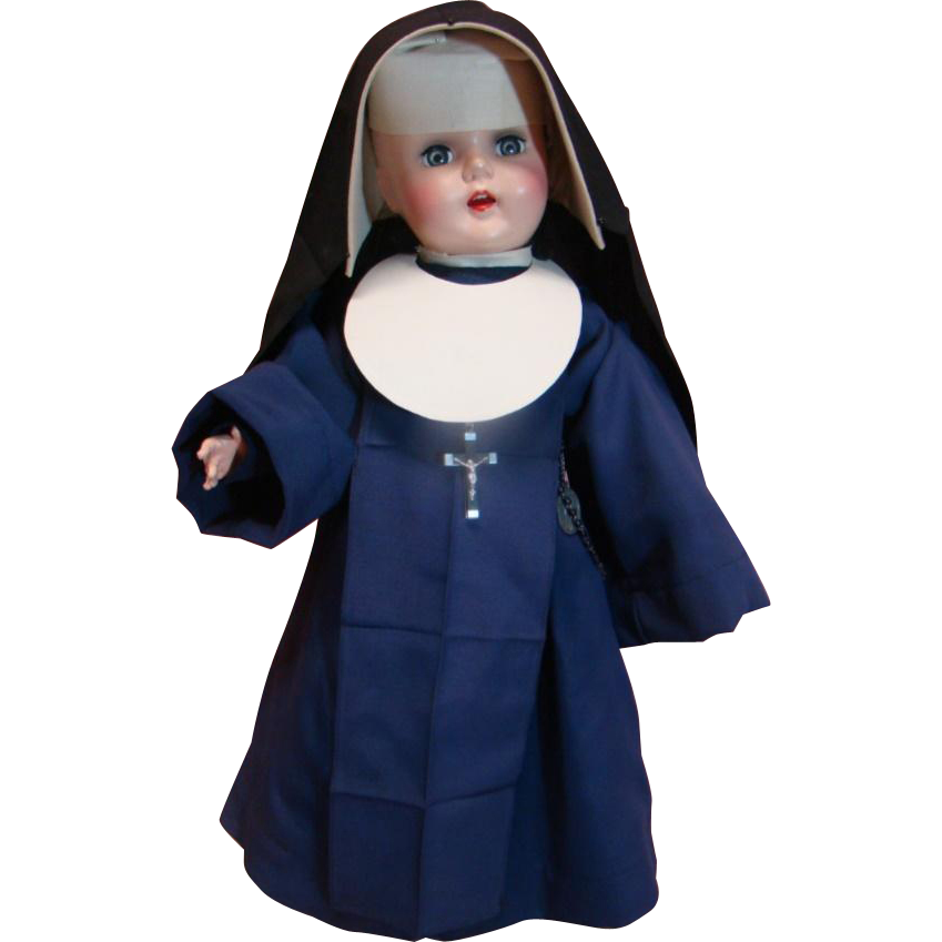 Hard Plastic Nun Doll with Provenance; 1950's; Dressed Specially for Original Owner in Official Nun Habit by a Catholic Nun
