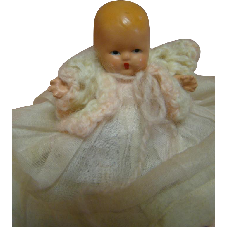 "Original Nancy Ann Storybook NASB Bisque Baby with Star Hands, "" Hush-Bye Baby "" with Molded Front Curls, Pink Gown, Sweater, 1939-1942"