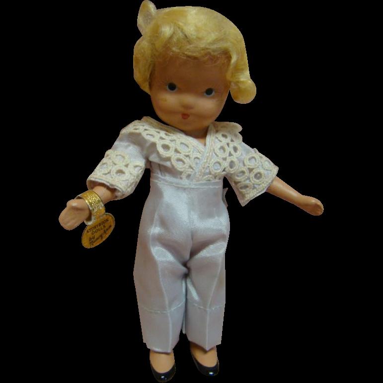 5-1/2 In. NASB Nancy Ann Storybook Doll #115 Boy Blue, 1943-47, Gold Wrist Tag, Pale Blue Taffeta Pants / Shirt, Excellent Condition