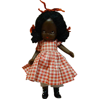 """5 In. NASB Nancy Ann Storybook Doll """" Topsy """" Original, Jointed Legs, Pudgy Tummy, Black Boots, 1941-42, Beautiful!!"""