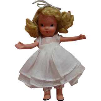 """5 In. NASB Nancy Ann Storybook Doll """" Eva """" Original, Jointed Legs, White Organdy Dress, Crisp in Never-Played-With Condition"""