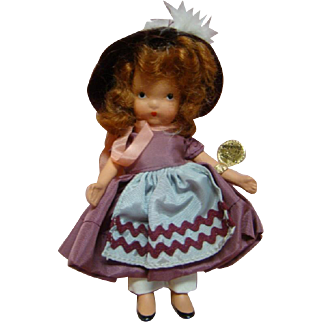 """5 In. NASB Nancy Ann Storybook Doll #131 """" Elsie Marley """" Original, Complete with Gold Wrist Tag, 1943-47, Beautiful and Complete"""