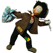 "Klumpe Doll from Spain, Extra Clean Condition, No Moth Holes, Gold Tag with "" Klumpe / Patentado "" on His Felt Coat, Looks Like a Burglar ?"