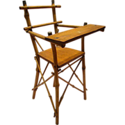 12-1/2 Inch Antique Walnut and Cane High Chair for 12-13 Inch Doll