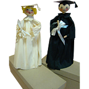 Girl and Boy Pair of 13 In. Crepe Paper Graduate Dolls in Original Boxes in Their Original Caps and Gowns Holding Diplomas, A Great Gift to a Graduate!